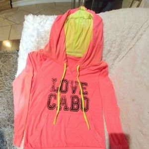 Hot Pink Love Cabo Sweatshirt With Hoodie Size S